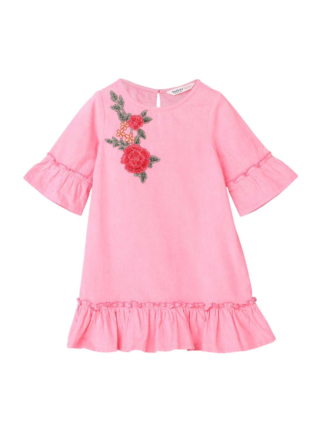 My Junior Miyo Ebay Beebay Girls Pink Self Design Drop Waist Dress