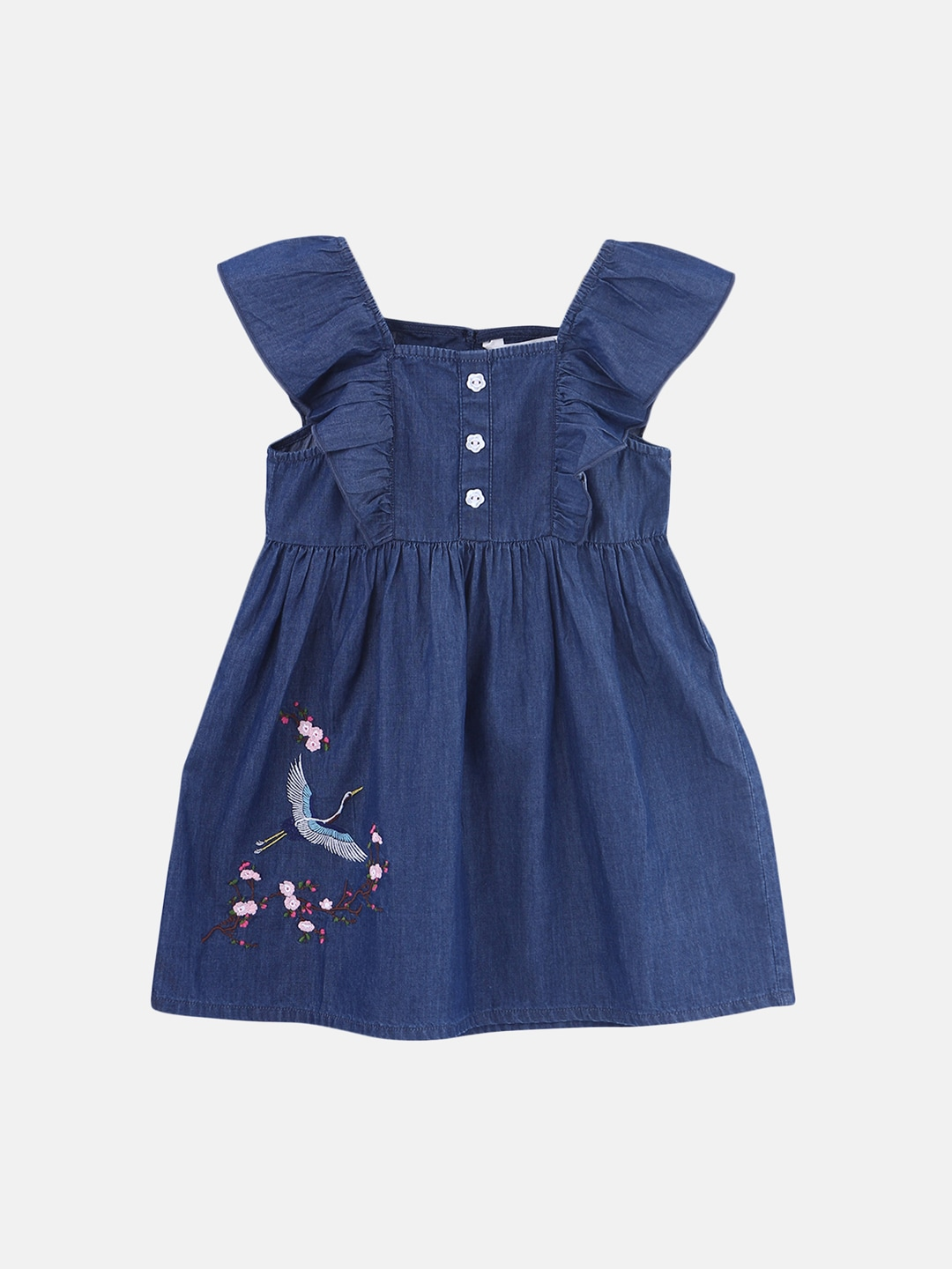 My Junior Miyo Ebay Beebay Girls Blue Solid Denim Empire Dress