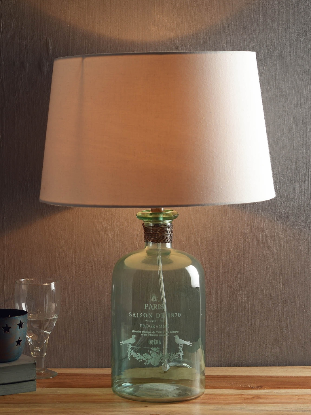 Glass Jar Lamp Shade Buy Fabuliv White Sea Green Glass Lamp With Lamp Shade Lamps