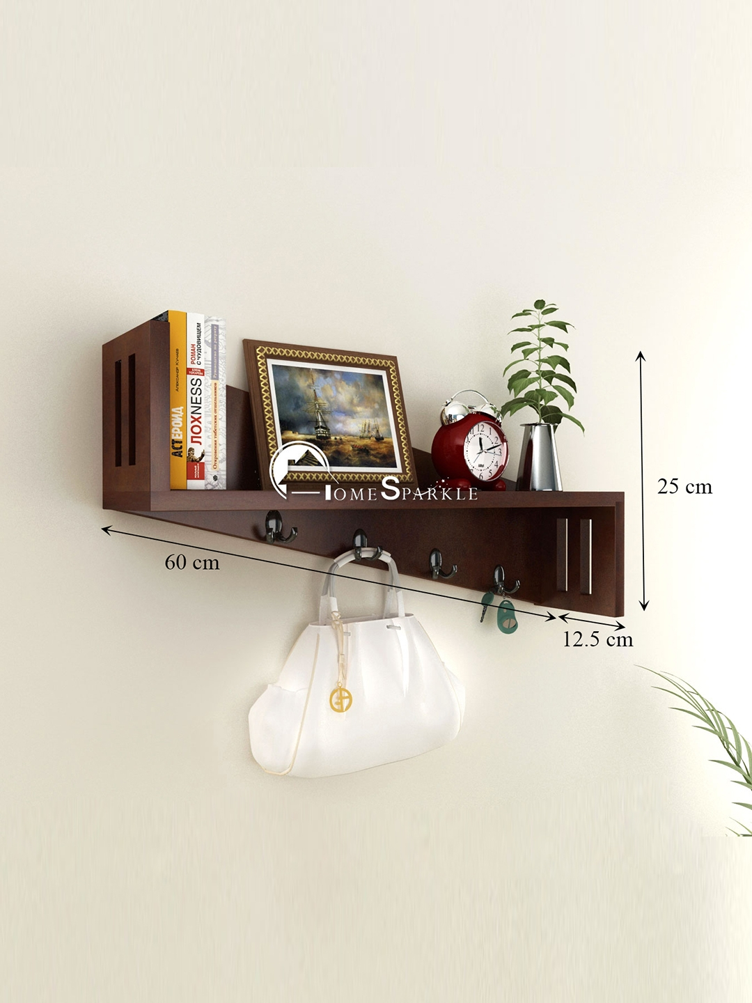 Home Key Holder For Wall Buy Home Sparkle Brown Wall Shelf With Key Holders Wall Shelves