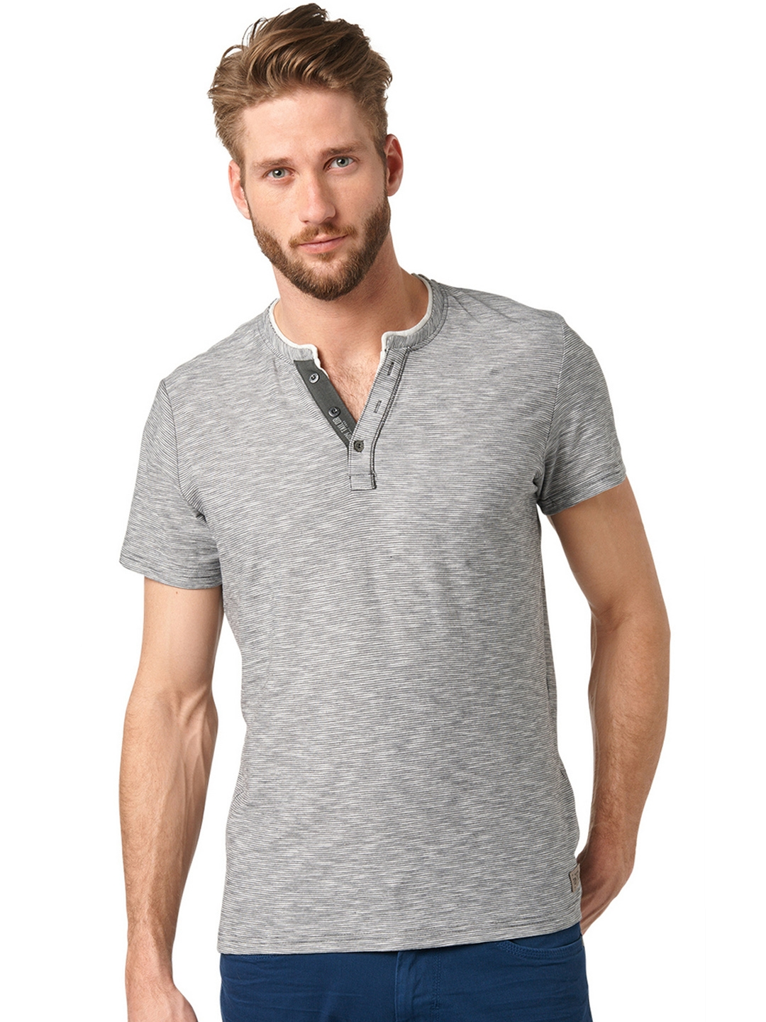 Tom Teiler Buy Tom Tailor Men Grey Striped Slim Fit Henley T Shirt Tshirts