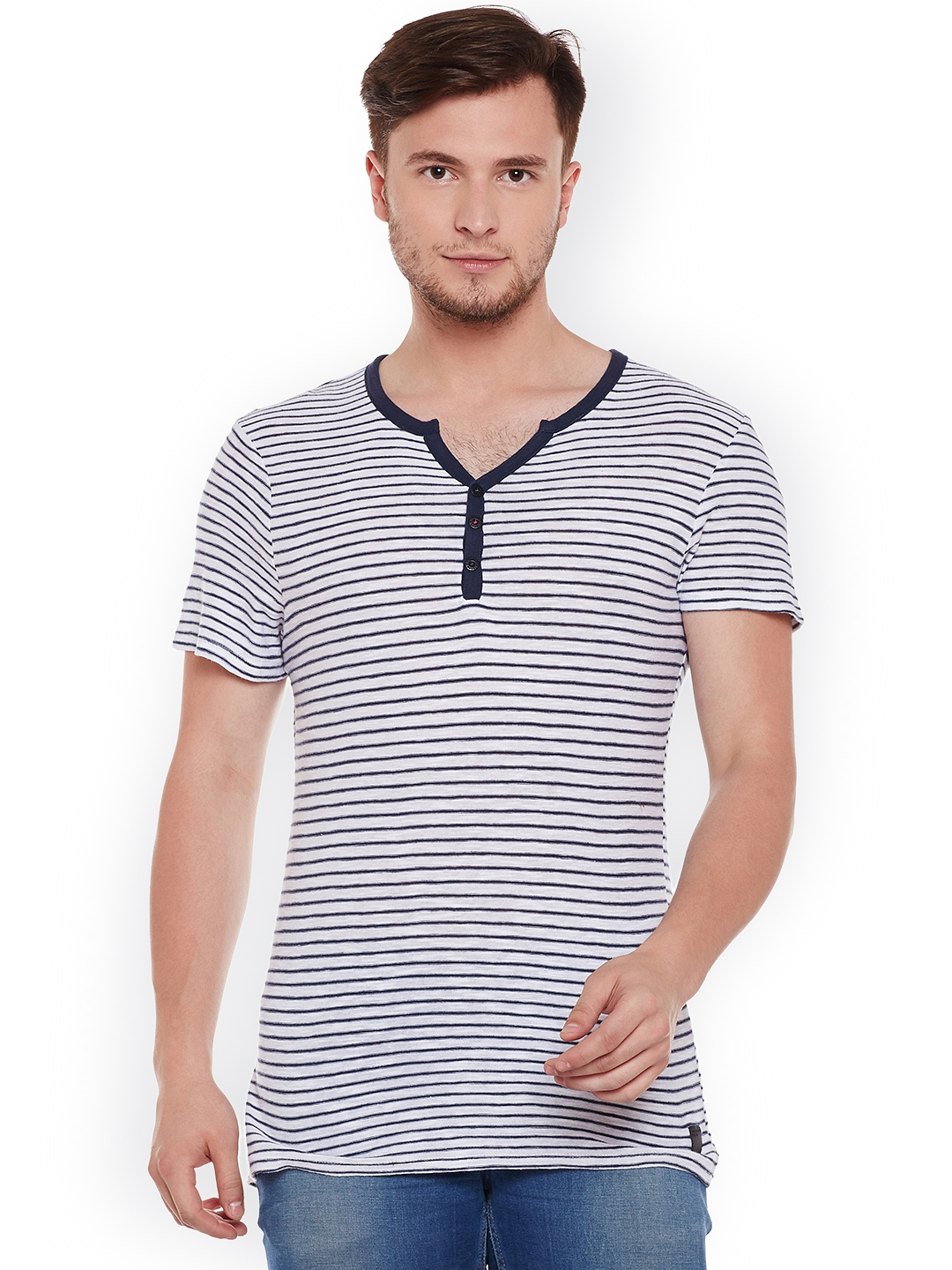 Tom Railor Buy Tom Tailor Men White Blue Striped Henley Neck T Shirt