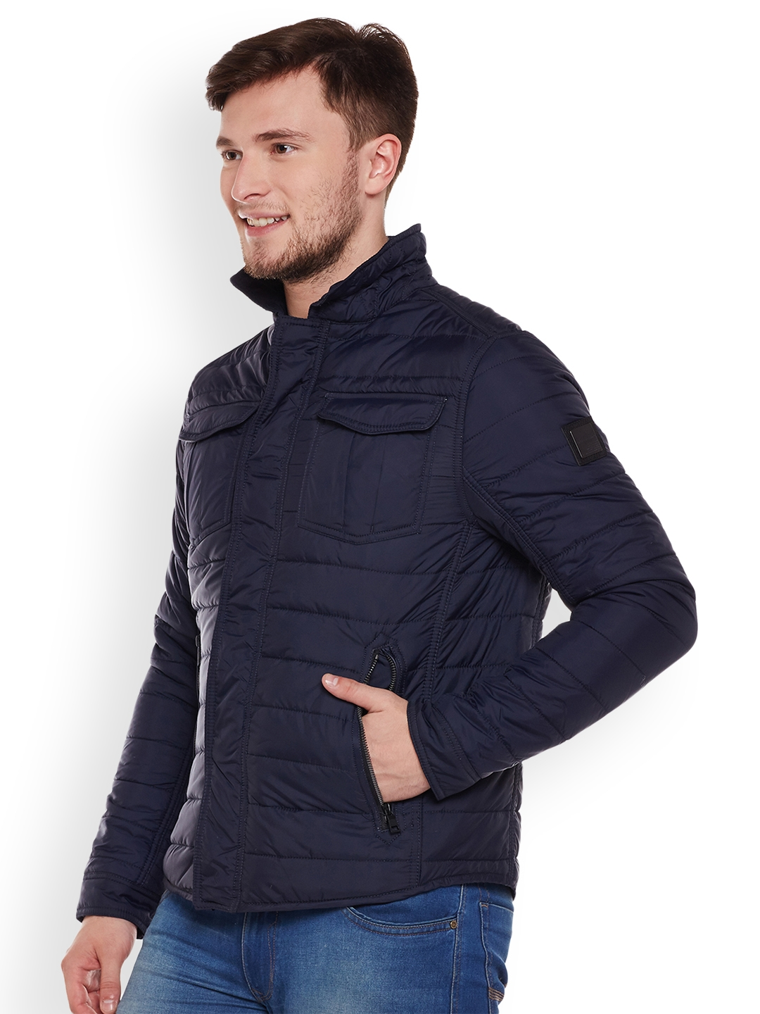 Tom Railor Buy Tom Tailor Men Navy Blue Solid Quilted Jacket Jackets For