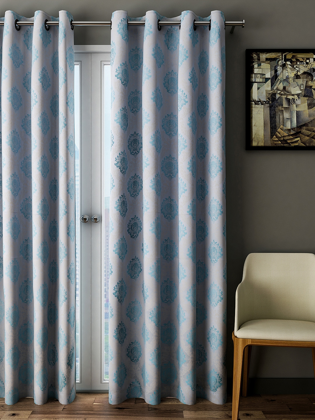 Curtains For A Blue Room Buy Cortina Blue Room Darkening Embroidered Door Curtains