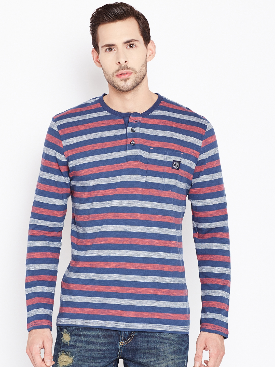 Tom Tailro Buy Tom Tailor Men Blue Off White Striped Round Neck T Shirt