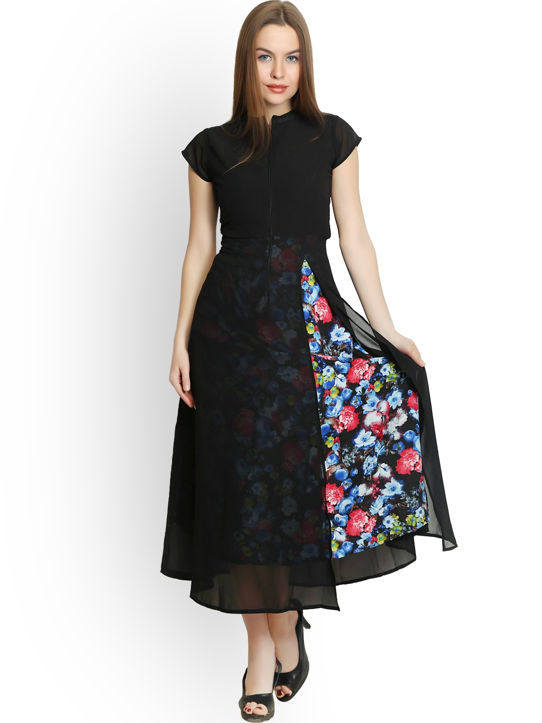 Clothing Ladies Online Shopping Belle Fille Black Polyester Georgette Maxi Dress