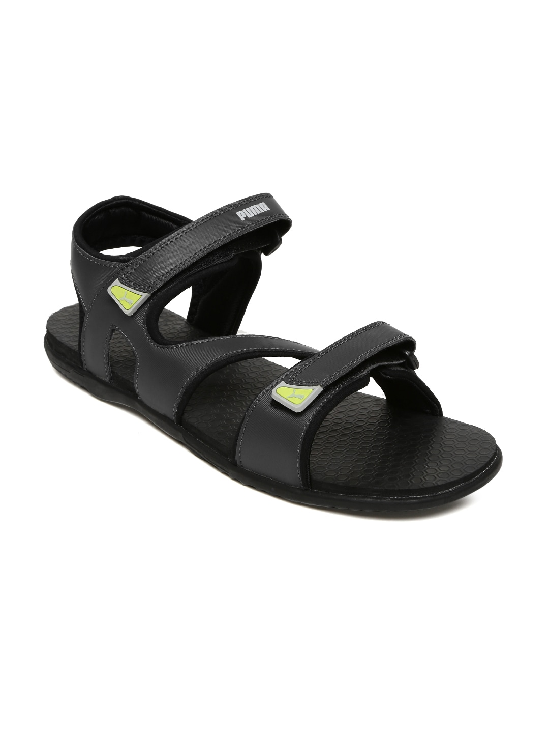 Puma men grey black elego idp colourblocked sports sandals