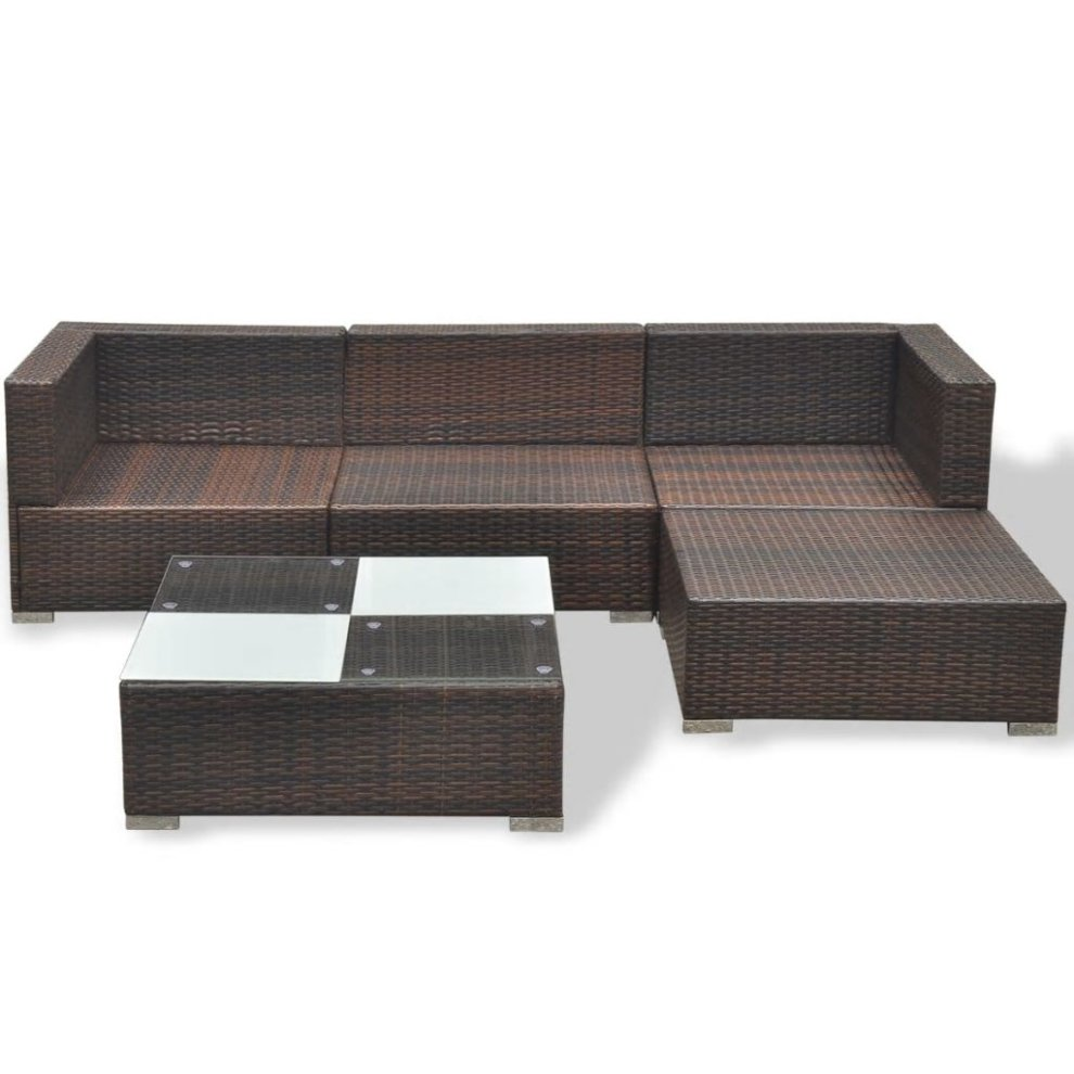 Vidaxl Garden Lounge Set 14 Pieces Poly Rattan Brown