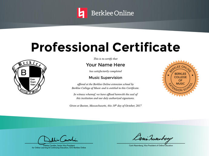 Music Supervision Professional Certificate - Berklee Online