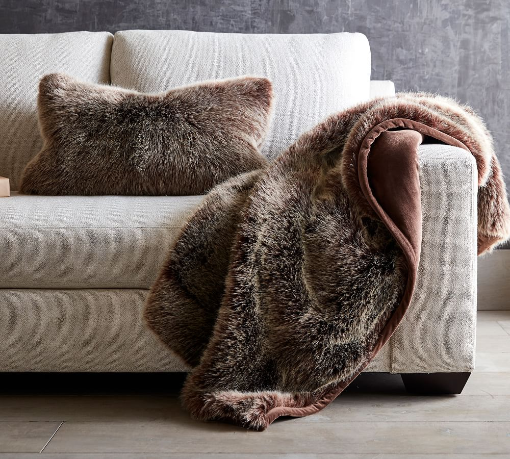 Faux Fur Luxe Mink Throw Pottery Barn