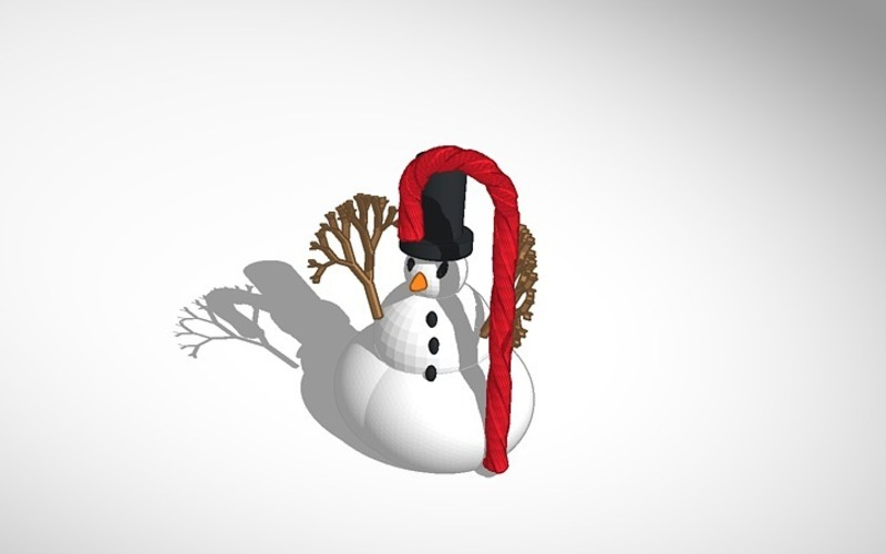 3D Printed More printable snowman with tophat and candy cane by