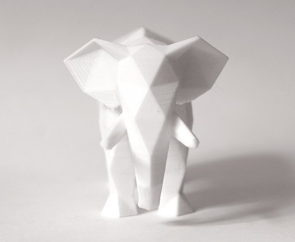 3D Printed Low Poly Elephant Art Sculpture by FORMBYTE Pinshape