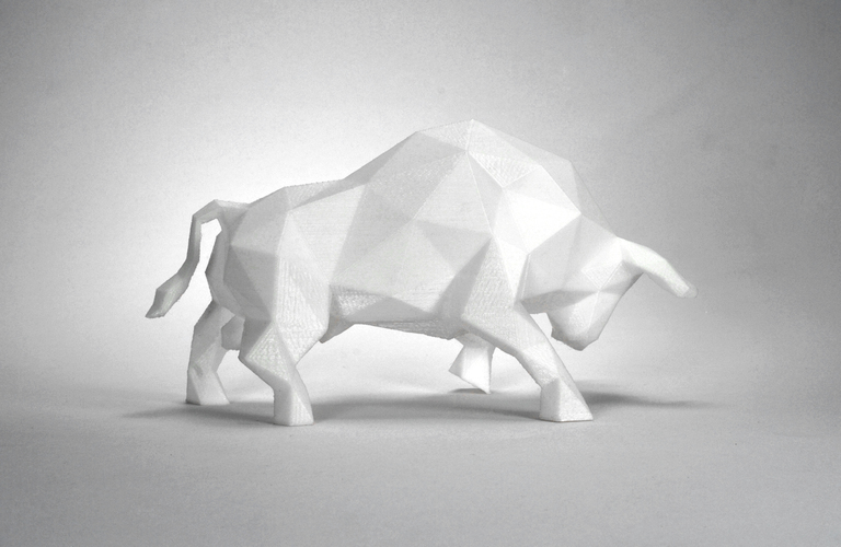 3D Printed Low Poly Bull Art Sculpture by FORMBYTE Pinshape