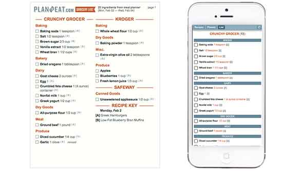 Meal Planner and Grocery Shopping List Maker - Plan to Eat - example grocery list
