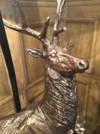 Standing Bronzed Deer Lamp /Faux Leather Shade | Mulberry Moon