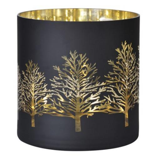 Large Black Gold Trees Glass Candle Holder Mulberry Moon