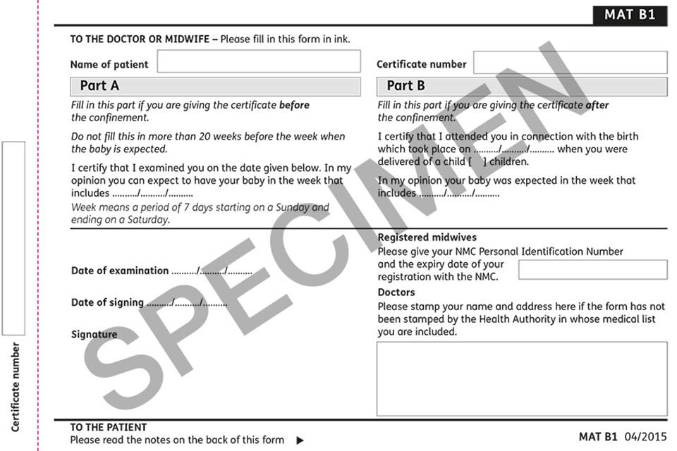 Maternity certificate (form MAT B1) \u2013 guidance on completion - GOVUK