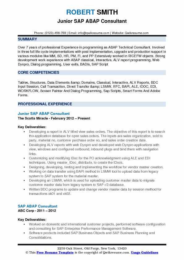 ABAP Consultant Resume Samples QwikResume - junior sap consultant resume