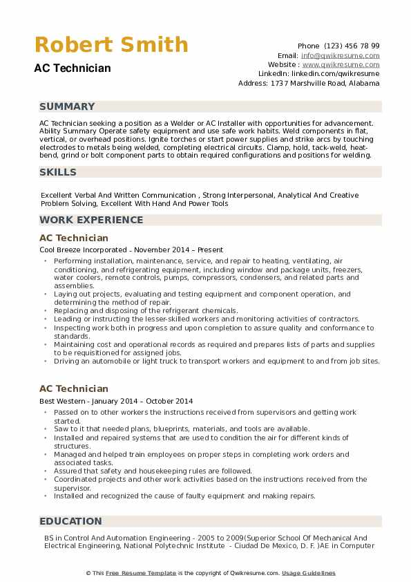AC Technician Resume Samples QwikResume