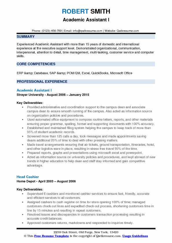 Academic Assistant Resume Samples QwikResume