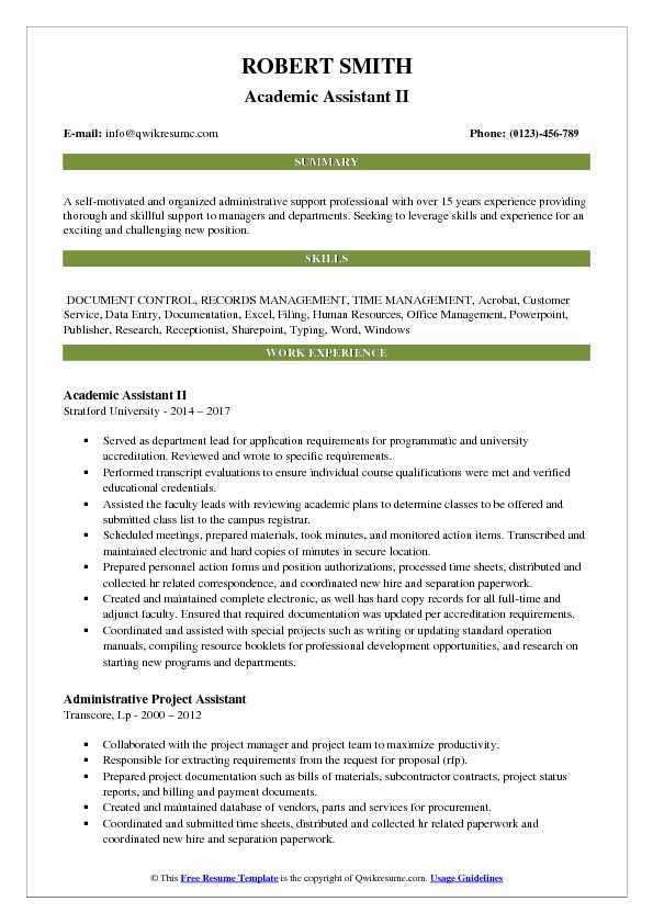 Academic Assistant Resume Samples QwikResume - document control assistant sample resume