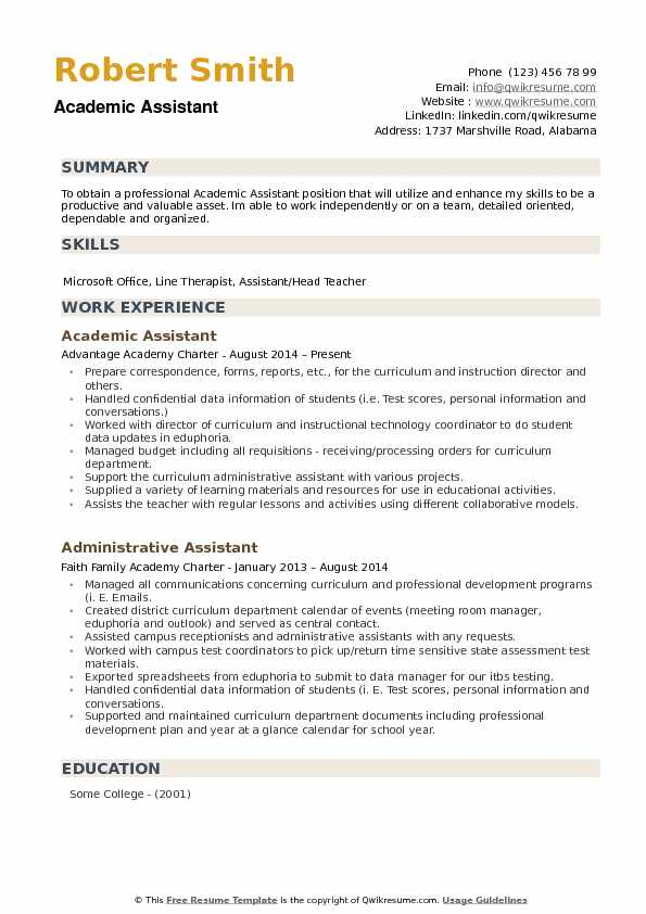 Academic Assistant Resume Samples QwikResume