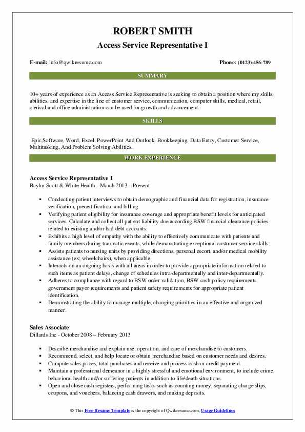 Access Service Representative Resume Samples QwikResume