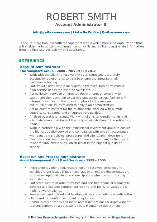 Account Administrator Resume Samples QwikResume