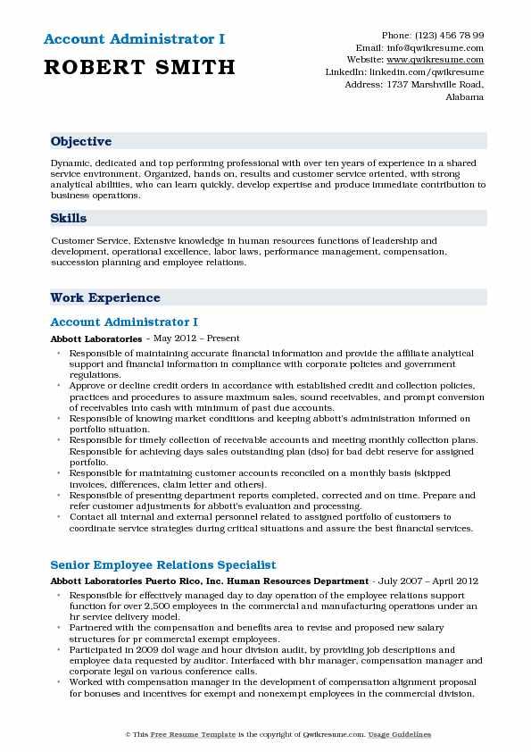 Account Administrator Resume Samples QwikResume - account administrator sample resume