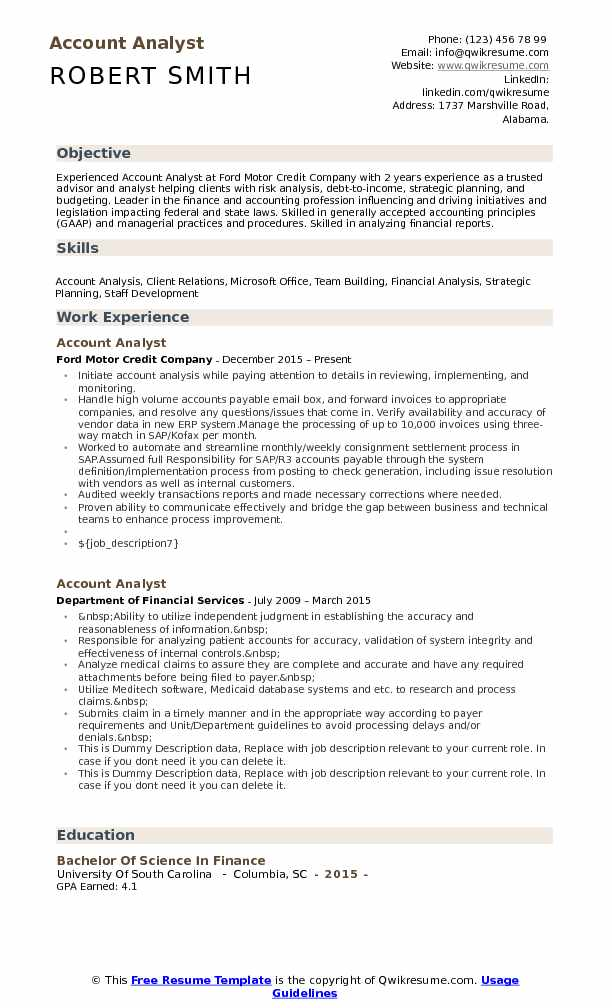 Account Analyst Resume Samples QwikResume - legislative analyst sample resume