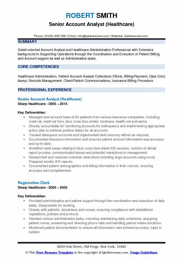 Account Analyst Resume Samples QwikResume