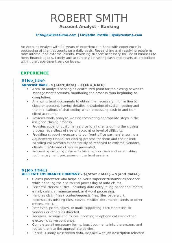Account Analyst Resume Samples QwikResume - account resume sample