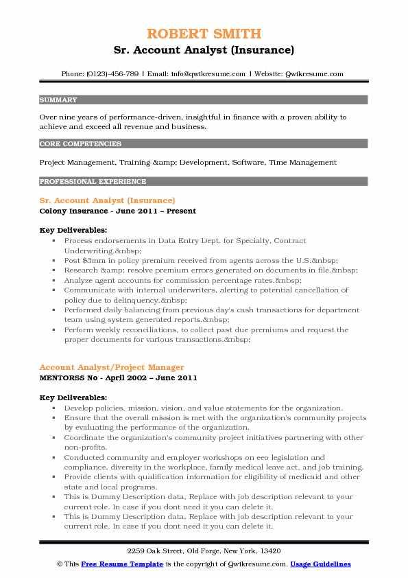 account analyst sample resume cvresumeunicloudpl - Account Analyst Sample Resume