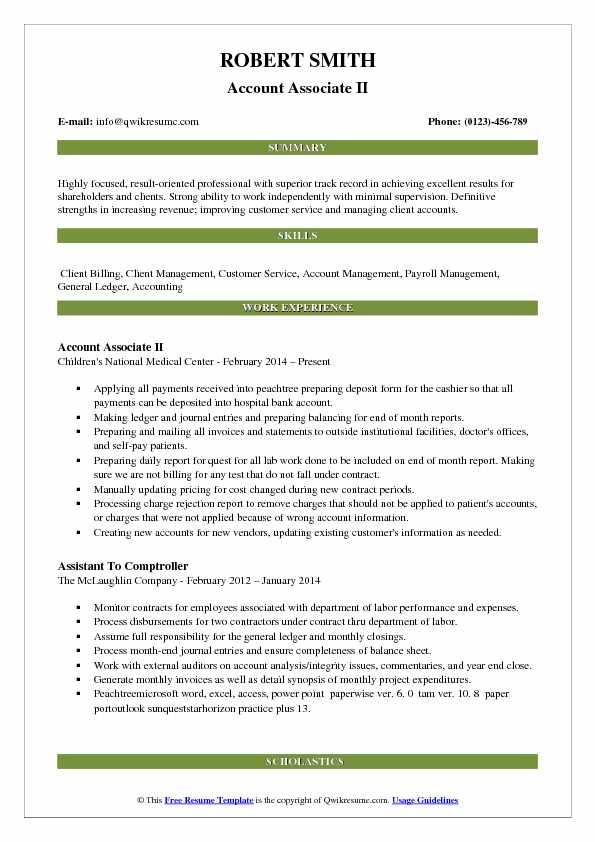 Account Associate Resume Samples QwikResume