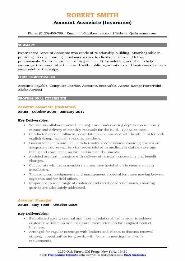 Account Associate Resume Samples QwikResume - associate relationship manager sample resume