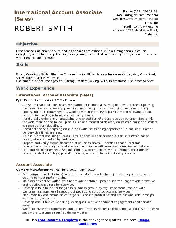 Account Associate Resume Samples QwikResume