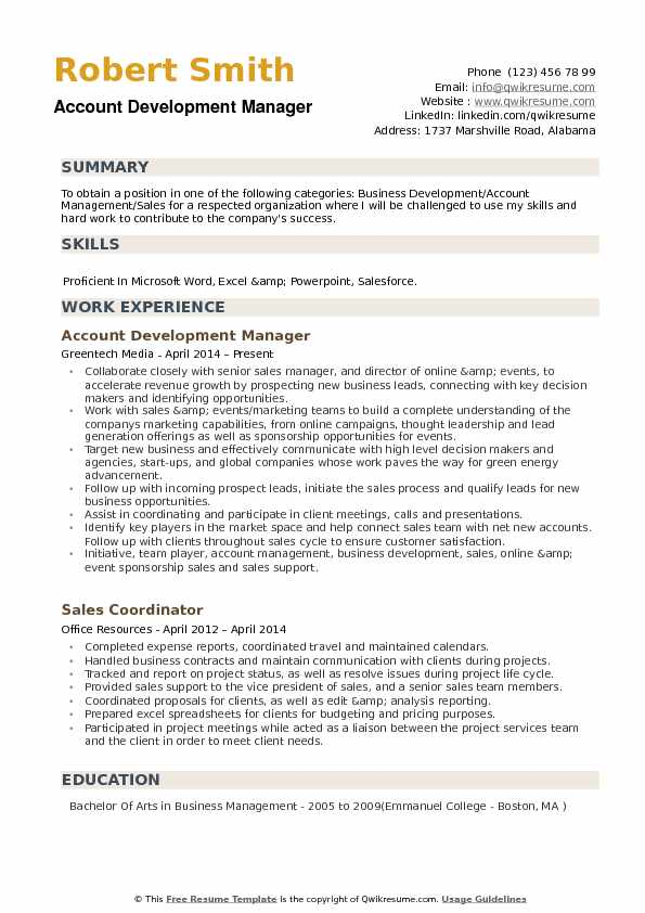 Account Development Manager Resume Samples QwikResume