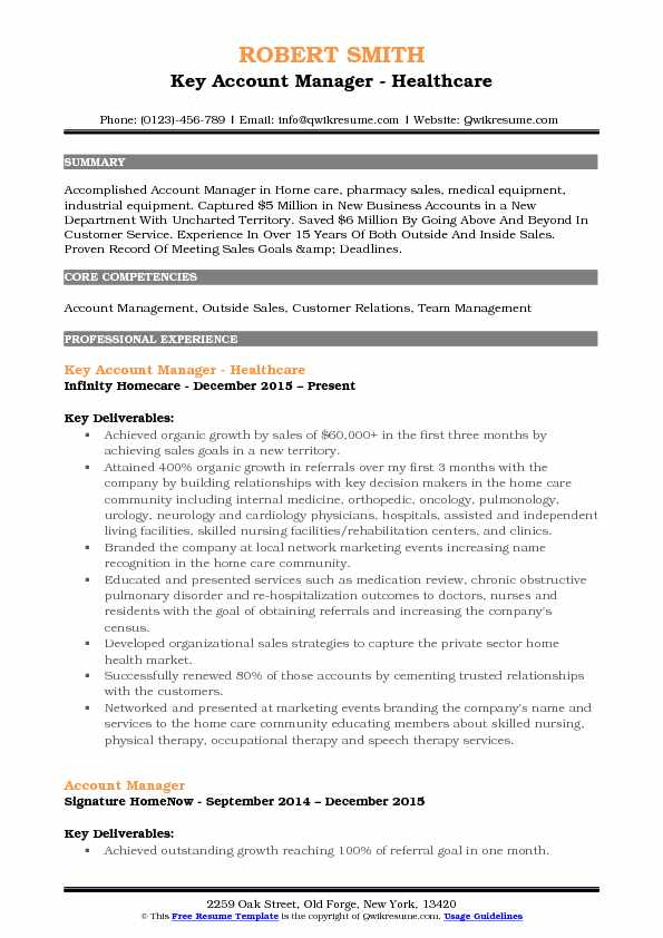 account manager resume sample pdf