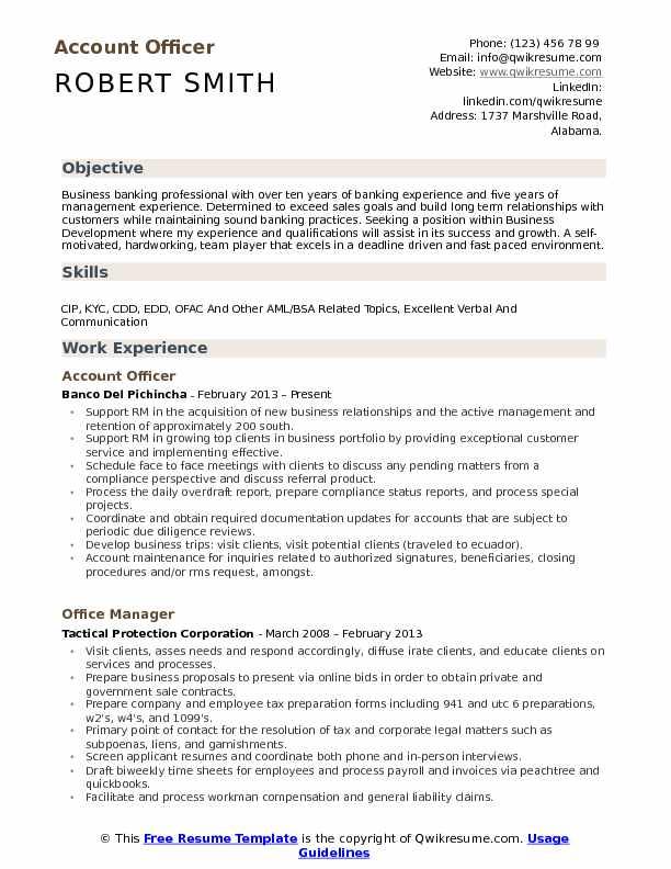 Account Officer Resume Samples QwikResume - aml officer sample resume