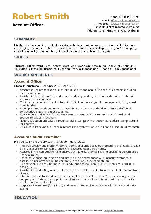 Account Officer Resume Samples QwikResume - Cash Management Officer Sample Resume