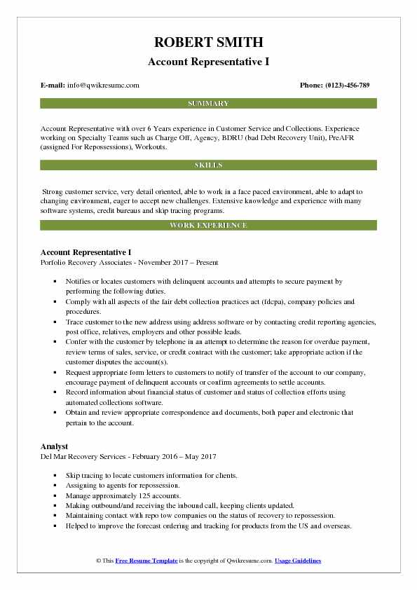 Account Representative Resume Samples QwikResume