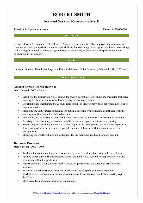Account Service Representative Resume Samples QwikResume