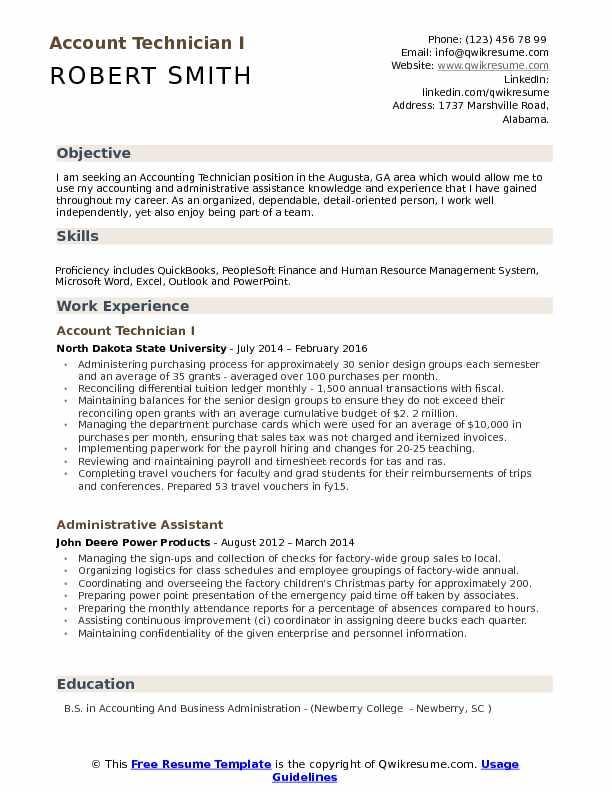 Account Technician Resume Samples QwikResume