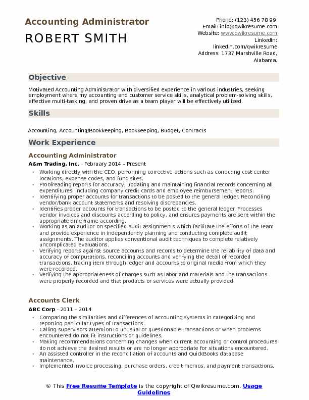 Accounting Administrator Resume Samples QwikResume