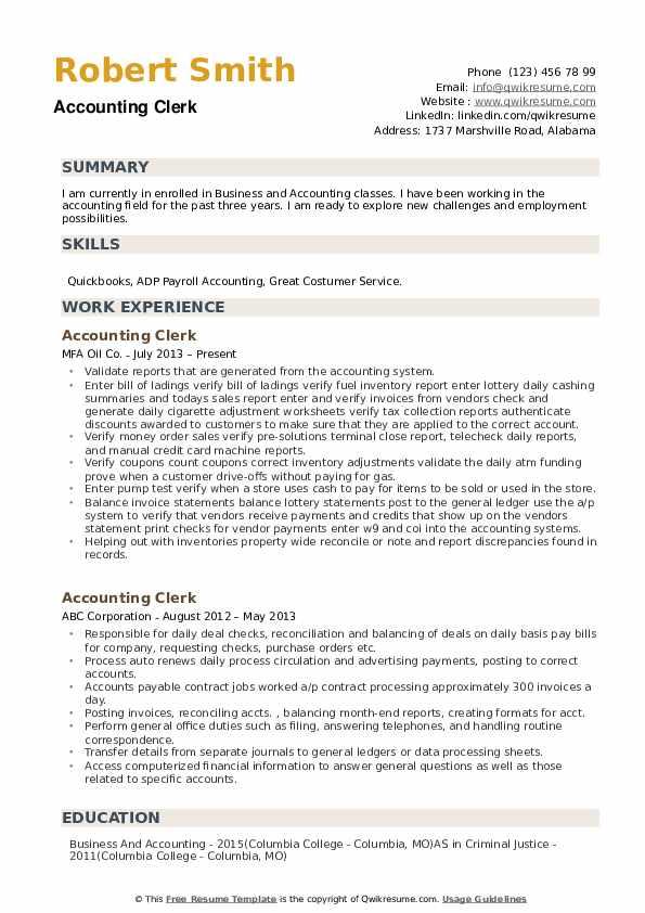 Accounting Clerk Resume Samples QwikResume