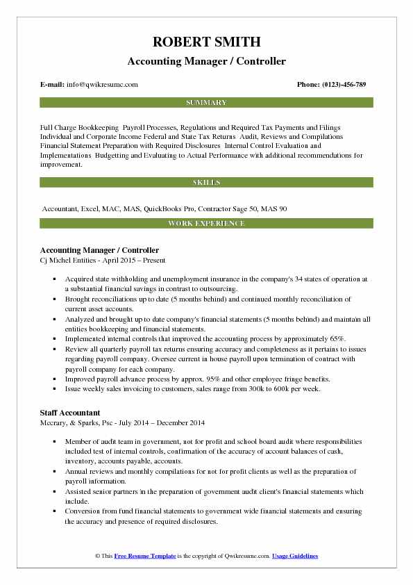 Accounting Manager Controller Resume Samples QwikResume - controller resume examples