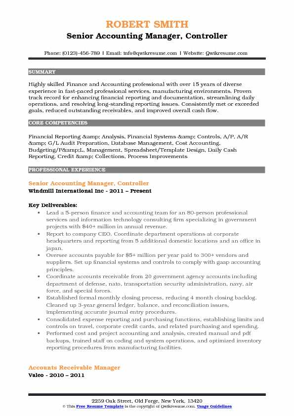 resume examples accounting manager