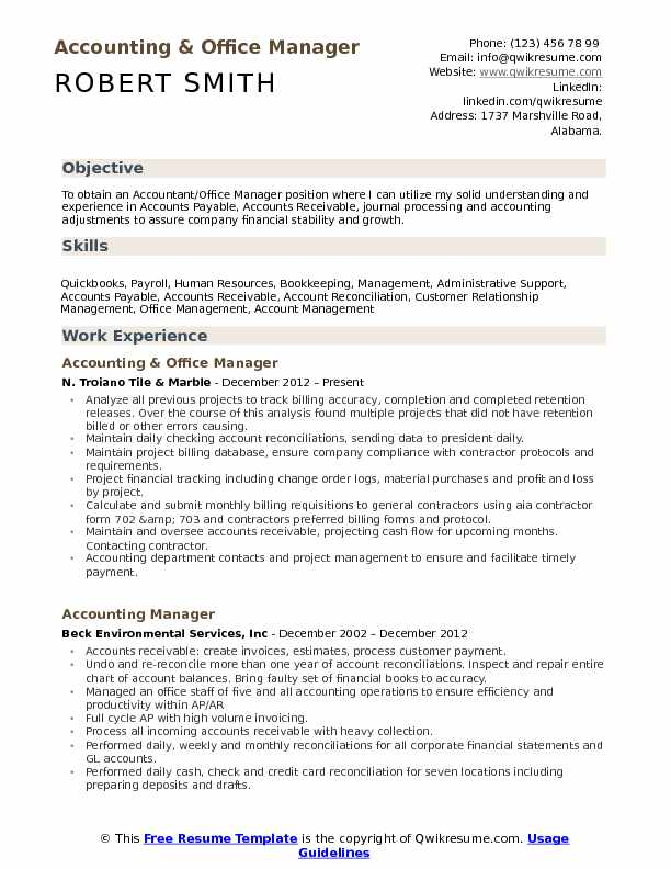 resume objective for account manager