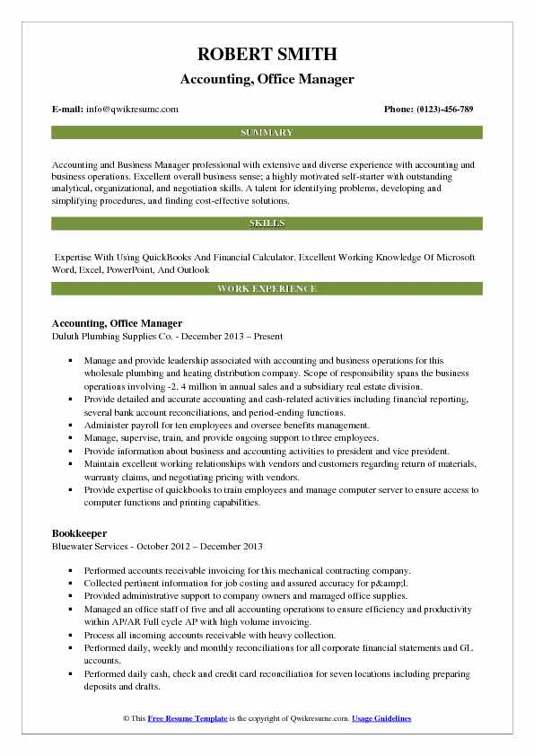 Accounting Office Manager Resume Samples QwikResume - Resume Business Manager