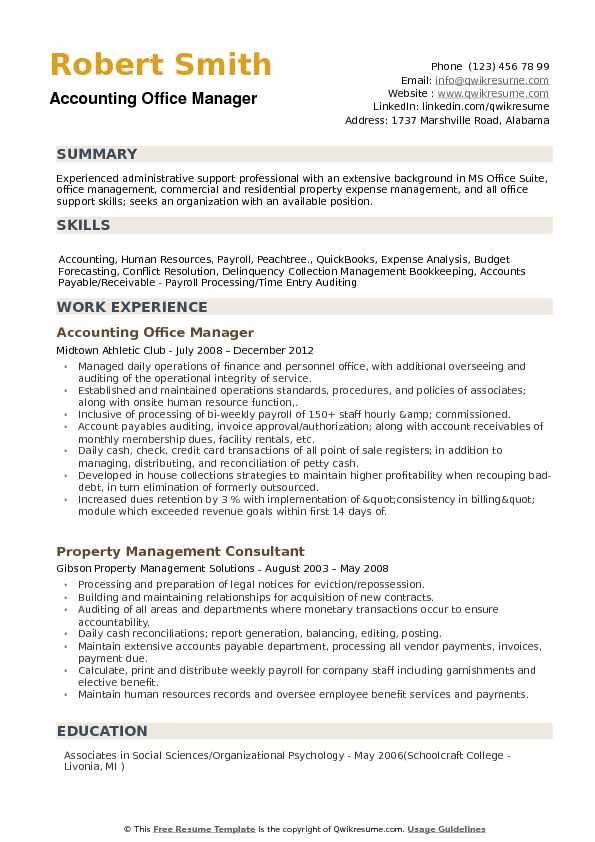 Accounting Office Manager Resume Samples QwikResume - Payroll Auditor Sample Resume